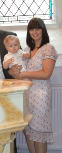 Not last week, but wearing the dress at O's christening.